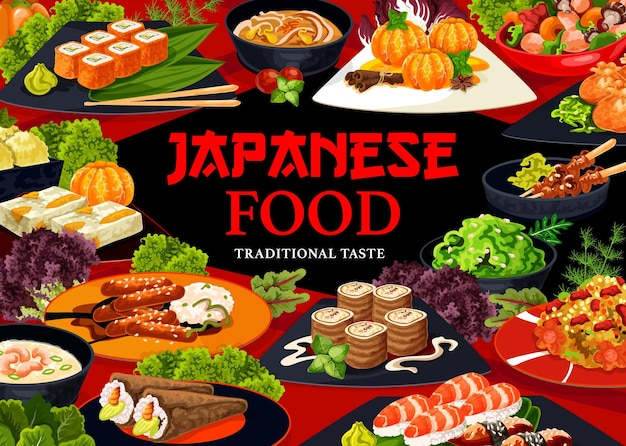 Capa do menu de comida de cozinha japonesa. rolinhos de nozes, yakitori e tangerina em calda, uramaki, nigiri e temaki sushi, salada de algas, arroz com frutos do mar, creme de camarão e sopa de macarrão, vetor kenko yaki