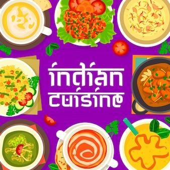 Capa do menu de cozinha indiana. sopa creme de tomate e ervilha, iogurte de manga lassi
