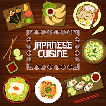 Capa do menu de cozinha japonesa, pratos de comida asiática e tigelas de oden do japão. jantares e almoços japoneses tradicionais, macarrão ramen e udon, rolinhos de sushi e temaki de frutos do mar com ostras e molho dip