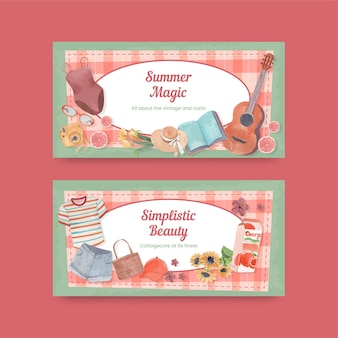 Capa do twitter com conceito de cottagecore de verão, estilo aquarela