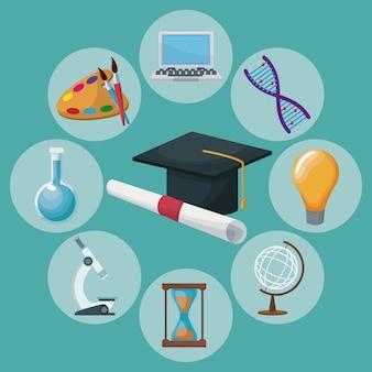 Capa e certificado de graduação de fundo colorido com ícones conhecimentos académicos em torno de