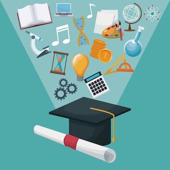 Capa e certificado de graduação de fundo colorido com ícones halo de luzes conhecimentos académicos