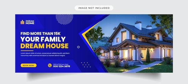 Capa e modelo de banner promocional de imobiliária no facebook