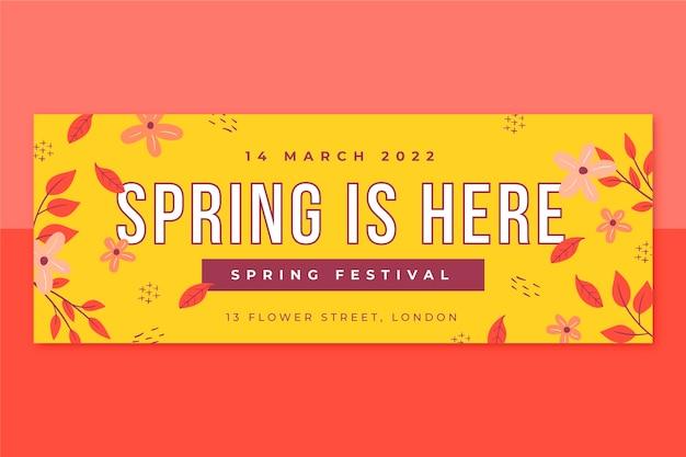 Capa floral minimalista da primavera do facebook