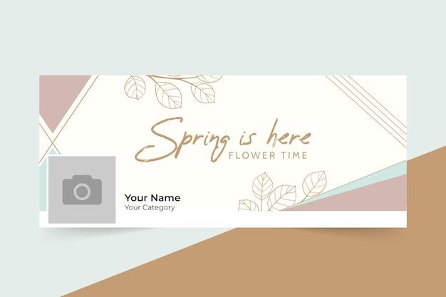 Capa geométrica elegante primavera do facebook