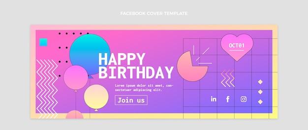 Capa gradiente colorida do facebook do aniversário