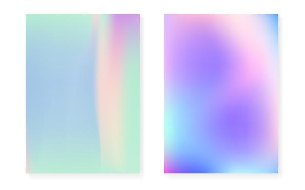Capa holográfica com fundo gradiente de holograma. estilo retro dos anos 90, 80. modelo gráfico perolado para cartaz, apresentação, banner, folheto. cobertura holográfica mínima do arco-íris.