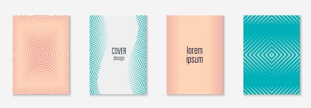 Capa minimalista e moderna. patente elegante, certificado, apresentação, layout de tela do celular. rosa e turquesa. capa minimalista com formas e elementos geométricos de linhas.