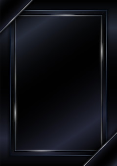 Capa modelo preto brilhante prata linha moldura estilo luxuoso com espaço para texto.