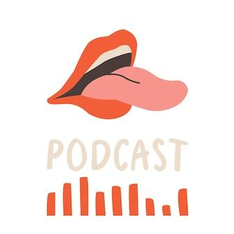 Capa para canal de podcast boca humana aberta com onda sonora e texto de língua saliente