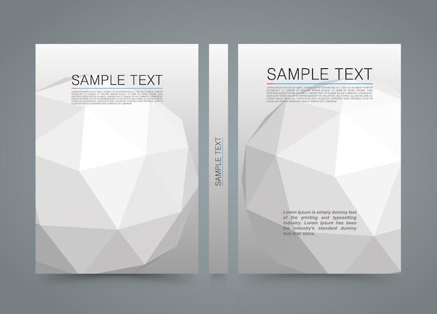 Capa poligonal. banner 3d esfera livro. papel de tamanho a4, elemento de design de modelo, vetor