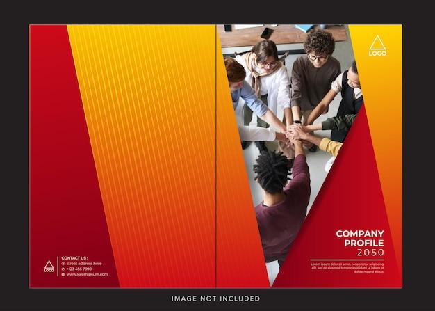 Capa vermelha laranja do perfil da empresa corporativa