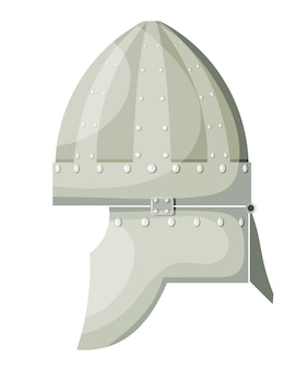 Capacete antigo do metal dos desenhos animados conservados em estoque do vetor com os rebites no fundo branco. armas de guerreiro de elemento. stock vector