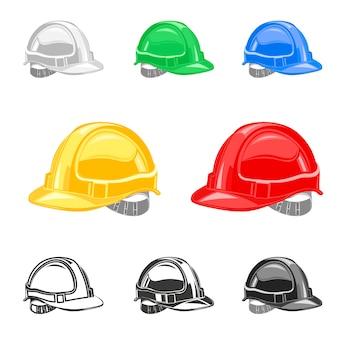 Capacete, conjunto de capacete de segurança, edifício, sob vetor de construção