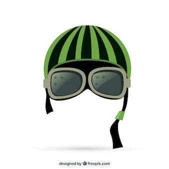 Capacete da motocicleta com óculos de proteção