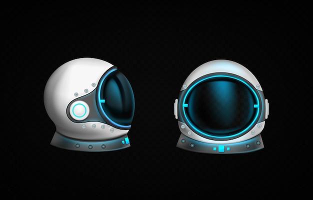 Capacete de astronauta com vidro transparente e luz azul na vista frontal e lateral