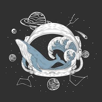 Capacete de astronauta e ilustração desenhada à mão de baleia