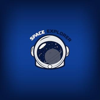 Capacete de astronauta e planetas