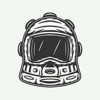 Capacete de astronauta espacial retro vintage em xilogravura. pode ser usado como marca de etiqueta de emblema de logotipo