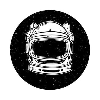 Capacete de astronauta no espaço com mão desenhada ou estilo doodle