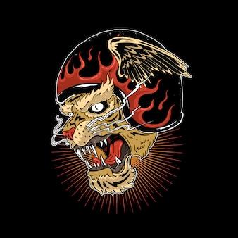 Capacete de cabeça de tigre com ilustração de chamas