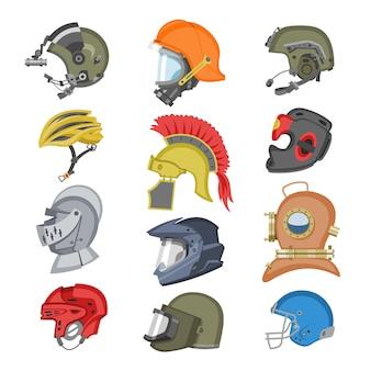 Capacete de capacete de proteção ou capacete de esporte de segurança, protegendo o conjunto de ilustração de capacete de motocicleta com capacete-escudo e capacete antigo cavaleiro no fundo branco
