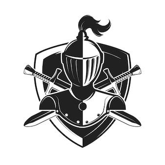 Capacete de cavaleiro com duas espadas e escudos isolado no fundo branco.
