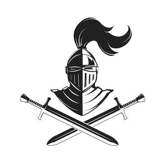 Capacete de cavaleiro com duas espadas, isolado no fundo branco.