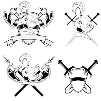 Capacete de cavaleiro, escudo e espadas e machado de batalha.