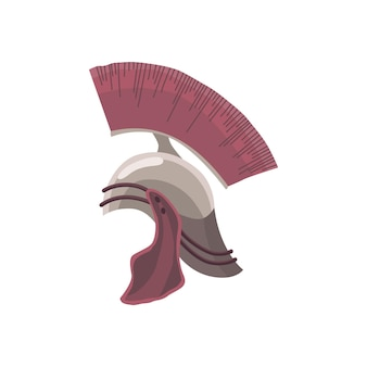 Capacete de centurião de roma antiga com a crista em vetor. proteção para a cabeça do antigo guerreiro. elemento de equipamento de segurança para homem militante