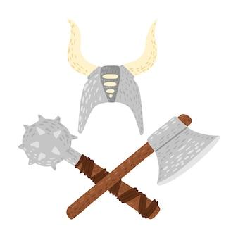 Capacete de composição com mangual e machado em fundo branco. desenho animado fofo no estilo doodle