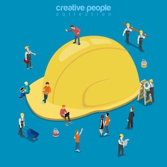 Capacete de construção amarelo chapéu isométrico plano