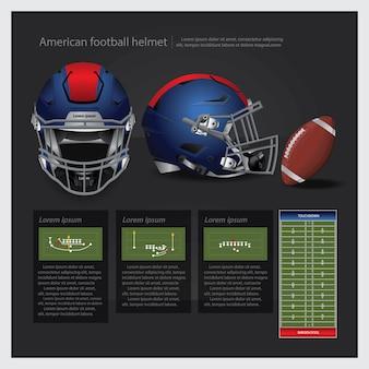 Capacete de futebol americano com ilustração em vetor equipe plano