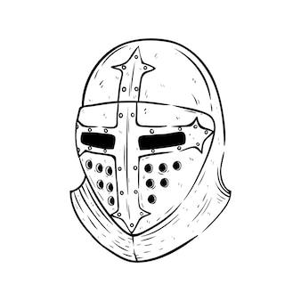 Capacete de gladiador com esboço ou estilo desenhado à mão no fundo branco
