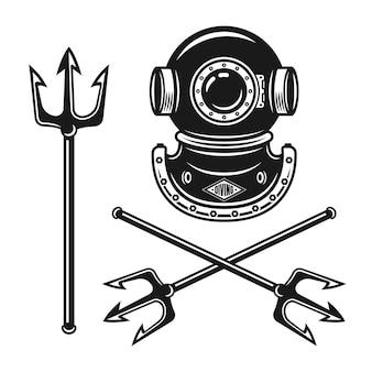 Capacete de mergulho antigo com objetos vetoriais de tridente isolados no branco