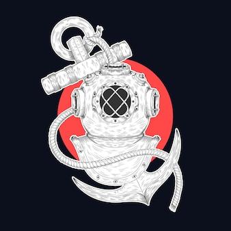 Capacete de mergulho e ilustração de âncora