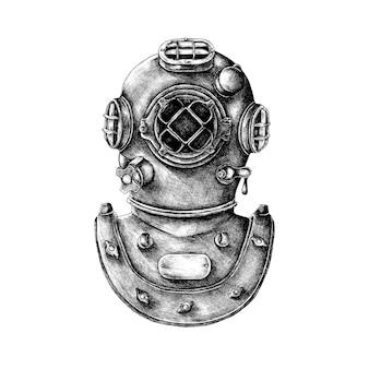 Capacete de mergulho retrô de mão desenhada