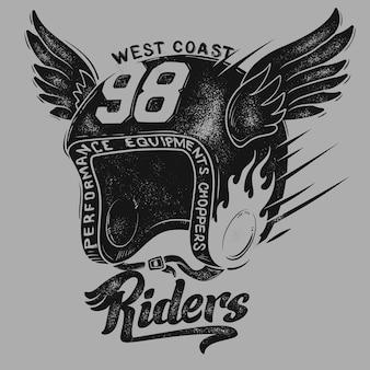 Capacete de motociclista, estampa de camiseta.