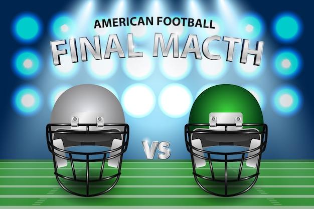 Capacete de prata e verde de futebol americano no campo com fundo de destaque.