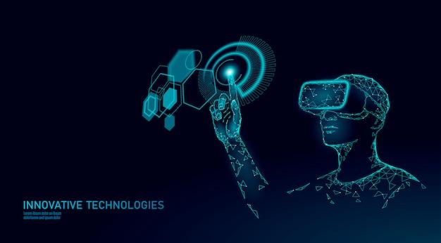 Capacete de realidade aumentada virtual baixo poli.