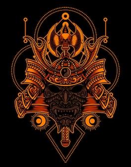 Capacete de samurai com geometria sagrada