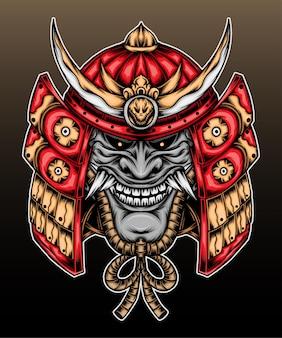 Capacete de samurai com máscara hannya. Vetor Premium