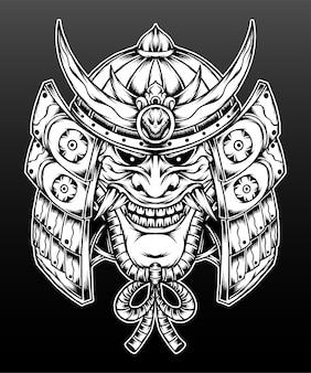 Capacete de samurai desenhado à mão com máscara hannya.