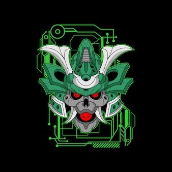 Capacete de samurai verde mecha