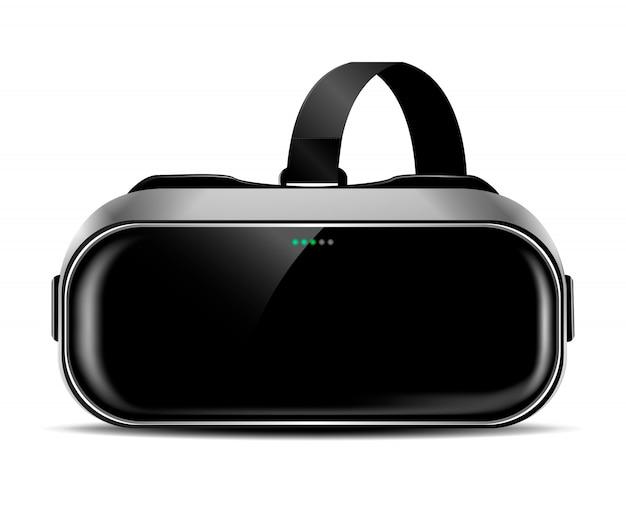 Capacete de vr ou óculos de realidade virtual com sombra, vista frontal, clip-art realista
