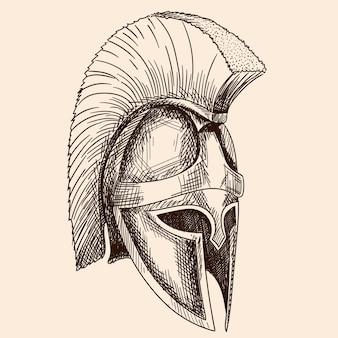 Capacete do antigo guerreiro grego hoplita com ornamento de meandro nacional. desenho de mão simples isolado em fundo bege.