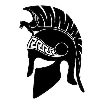 Capacete do antigo guerreiro grego hoplita com um ornamento de meandro nacional isolado no fundo branco.