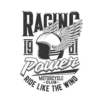 Capacete do clube de pilotos de motocicleta e corridas motorizadas com asa