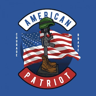 Capacete e bota de arma americana