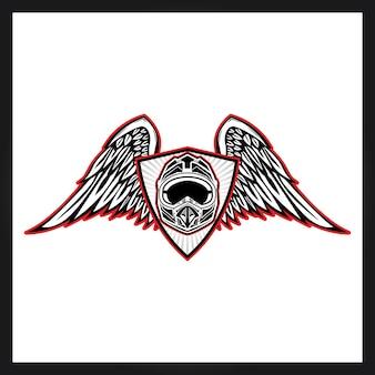Capacete e wngs para logotipo de motocross